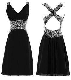 Cheap Homecoming Dresses Under 100 Real Picture Black Homecoming Dresses Short Beads Ruched V Neck Chiffon Gown For Graduation Party Online Semi Formal Dress Hoco Dresses, Dance Dresses, Club Dresses, Homecoming Dresses, Pretty Dresses, Sexy Dresses, Beautiful Dresses, Evening Dresses, Formal Dresses