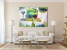"""large ABSTRACT GICLÉÉ PRINT, print of painting, white, green, blue """"Your face is like a secret"""""""