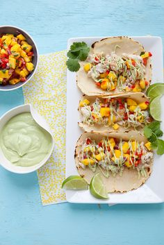 Fish Tacos with Mango Salsa and Avocado Cream Sauce - Everyday Annie Fish Dishes, Mexican Dishes, Seafood Dishes, Main Dishes, Fish Recipes, Seafood Recipes, Mexican Food Recipes, Cooking Recipes, Mango Salsa