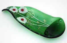 fused glass Curved green  Wine Bottle Serving Tray by virtulyglass, $38.00