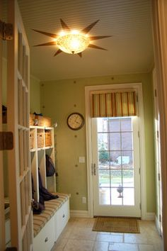 Glazed Stried Mudroom and Stenciled Ceiling - eclectic - Entry - Detroit - Fabulous Finishes Inc