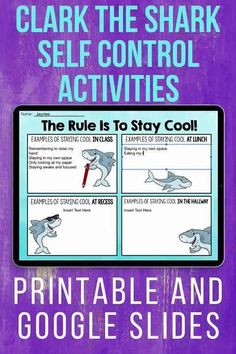 """Use these no-prep activities to help your students learn about self control! These activities are the perfect complement to the book """"Clark the Shark"""" by Bruce Hale, however the activities can also be done without the use of the book! Students will learn about what self control is, how they can use it and how their actions affect the people around them!The Google Slides component is great for educators doing distance learning or who are looking to incorporate technology into their lessons."""