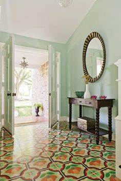 The Moroccan-inspired tile in the foyer was the starting point for artist and designer Sally Bennett's home and life revamp.