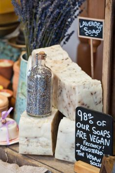 Great signage for a craft show display. Rustic Soap Display Handmade Lavender and Thyme Soap by The Little Cornish Soap Company