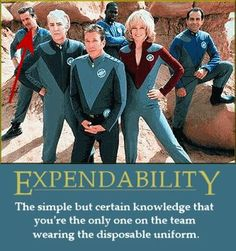 Expendability: The simple but certain knowledge that you're the only one on the team wearing the disposable uniform.