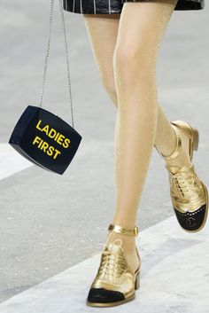 Chanel spring 2015 gold ankle-strap brogues
