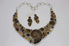 Ammonite, Freshwater Pearl,Citrine,Smokey Quartz, Tiger Eye