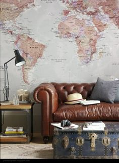 Love this idea of map on wall. It would be cool to have in a reading room.