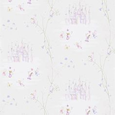 Little Sanderson Fairy Castle 214047 Vanilla wallpaper from the Abracazoo collection, priced per roll. The dreamy turrets of castles in the clouds conjure up a magical world of fairies