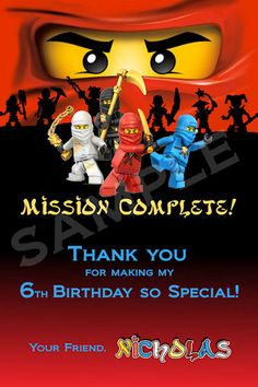 Printable Ninjago Birthday Party made to match Thank You Card - Customizable - 2
