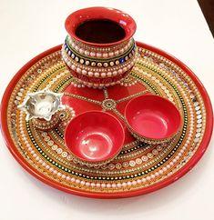 Items similar to KundanArt Arti Thali Decoration, Kalash Decoration, Decoration For Ganpati, Wedding Decoration, Diwali Diy, Diwali Craft, Diwali Pooja, Diy Diwali Decorations, Festival Decorations