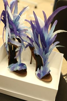 Nicholas Kirkwood for Victoria's Secrets . Feather Heels . Lilac . Purple