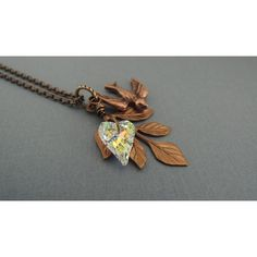 Vintage Inspired Sparrow Necklace Swarovski Heart Necklace Branch... ($40) ❤ liked on Polyvore featuring jewelry, heart pendant, vintage style jewelry, vintage looking jewelry, heart shaped jewelry and pendant jewelry