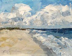 Summer Beach Shore Coastal Blue White by ClairHartmannFineArt, $185.00