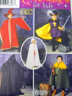 Simplicity Costume Sewing Pattern 5512 Sz A Childrens Cape Hat Tabard Wizard