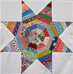String Star Quilt Top-love the colors and these vintage fabrics
