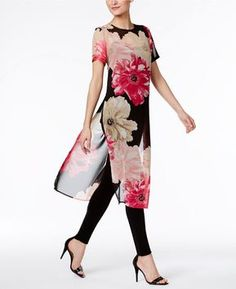 Calvin Klein Sheer Floral-Print Tunic Calvin Klein's stunning floral-print tunic is a pretty pick for on-duty days. African Fashion, Indian Fashion, Womens Fashion, Fashion Fashion, Ao Dai, Blouse Designs, Dress Designs, Dress Patterns, Sewing Patterns