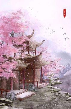Sejuta Share: wife i need attention too Fantasy Art Landscapes, Fantasy Landscape, Landscape Art, Beautiful Landscapes, Natur Wallpaper, Arte 8 Bits, Art Asiatique, Japanese Artwork, Japon Illustration