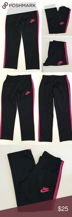 """[Nike] women's black athletic track pants L [Nike] women's black athletic track pants L •🆕listing •good pre-owned condition •black with pink stripe detail and logo (no cracking/wear) •elastic waistband, drawstring removed •material 100% polyester, soft athletic feel, medium thickness •2 front, 1 back pockets •length/inseam 31.5"""" •offers and bundles welcomed using the features• Nike Pants Track Pants & Joggers"""