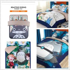 cute Totoro bed linens 4 pieces cartoon bedding sets twin queen king size for kids/children home quilt duvet covers home textile
