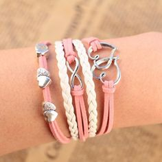 2014 New Pink Metal Heart Corss Love Style Infinity Multilayer Leather Bracelet…