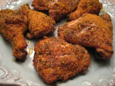 Low-Carb, Keto-friendly  Oven baked chicken: crushed pork rinds for coating // 3 chicken thighs  3 chicken drumsticks  ½ stick unsalted butter  ½ c. grated Parmesan cheese  2 T. Ranch dressing powder, OR my Seafood Spice Blend:  http://buttoni.wordpress.com/2009/08/20/my-seafood-spice-blend/  2 T. parsley, chopped very fine  1/8 tsp. black pepper  ¼ c. plain pork rinds, crushed fine