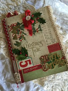 Items similar to Rustic Vintage Christmas Junk Journal Embellished w/ Vintage Papers~Lace~Scraps~Mixed Media Journal~Memory Keeper Noteboo on Etsy Christmas Mini Albums, Christmas Mix, Christmas Journal, Christmas Scrapbook, Xmas, Christmas Paper Crafts, Vintage Christmas Cards, Altered Composition Books, Composition Notebooks
