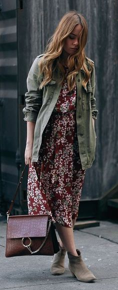 #business #casualoutfits #spring | Army Green Jacket + Wine Floral Maxi Dress  |Teeth Are Jade
