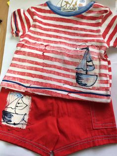 Balu Hand Painted Cotton 2 Piece Set T-Short and Shorts  Baby Boy 3-6m #Balu  £9.99 Matching jacket avaialble #babyboysclothes #designerbaby