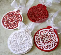 In My Creative Opinion: 25 Days of Christmas Tags - Day 3 Christmas Ornament Dies Serendipity - 1270 Holidays Swirl Circle Elegant Die 25 Days Of Christmas, Stampin Up Christmas, Christmas Paper, Homemade Christmas, Christmas Projects, Christmas Crafts, Christmas Ornament, Handmade Gift Tags, Holiday Gift Tags