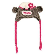 Crochet Monkey Hat - One Size Fits Most toddlers - $15.99