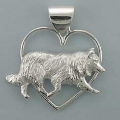 Sterling Silver large running Border Collie framed in large heart with jumbo bail