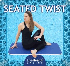 "Ever twist in a chair to ""crack"" your back? It's not hard to notice the soothing benefits that twisting in a seated position offers. The classic yoga pose, Seated Twist, often called Half-Twist, utilizes a range of motion to increase spinal flexibility, expand the chest, strengthen the abdominal core and stimulate the internal organs.  Seated Twist also provides vertebral and digestive relief. Meditation Exercises, Yoga Meditation, Cracking Your Back, Yoga Flow, Range Of Motion, Yoga Poses, Health Benefits, Flexibility, Core"