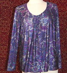 SUSAN GRAVER STYLE purple paisley polyester long sleeve blouse M (TF-02B7) #SusanGraver #Blouse #Casual