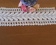 Your place to buy and sell all things handmade Crochet Lace Edging, Filet Crochet, Crochet Doilies, Crochet Patterns, Crochet Table Topper, Vintage Baby Boys, Tablecloth, Embroidered Pillowcases, Pineapple Pattern