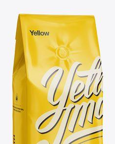 Glossy Coffee Bag With Valve Mockup - Half-Turned View