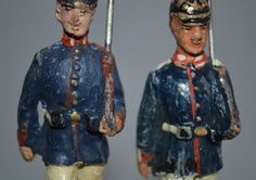 2 große Hausser Elastolin Massefiguren Soldaten mit Pickelhaube 1.WK