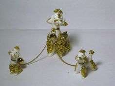 Vintage Christmas All Dressed Up Gold Glitter Mother Poodle Dog and Puppies puppy porcelain Figurine Chain Numbered Japan Lefton Napco