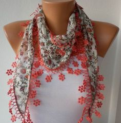 NEW, Coral Scarf  Headband Necklace Cowl with Lace Edge  Multicolor Gift for Her. $15.00, via Etsy.