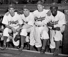 Brooklyn Dodgers John Jorgensen, Pee Wee Reese, Ed Stanky and Jackie Robinson on Opening Day 1947