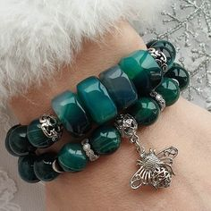 Tassel and Leaf on AB Faceted Glass 4mm Bead Bracelet on Stretch Cord UK