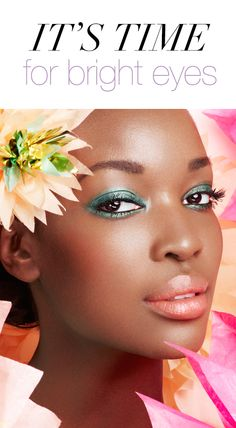 Try a colorful twist on the smokey eye and balance it with a hint of blush and neutral lip #beauty #makeup #tip #spring