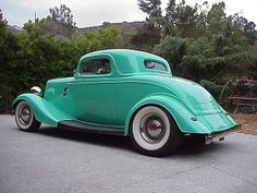 1934 Ford, Aqua Firemist, Customized 3-Window Coupe.