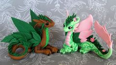 Leaf and Flower Dragon Couple by *DragonsAndBeasties on deviantART
