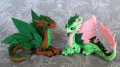 Leaf and Flower Dragon Couple by *DragonsAndBeasties on deviantART