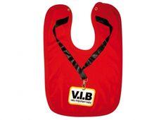 BAVAGLINO V.I.B.VERY IMPORTANT BABY. Bavaglino per bambini con allacciatura a bottone con frasi divertenti e disegno a tema-adatti anche per deliziosi scherzi agli adulti