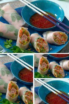 Thailändische Puten-Reispapier-Röllchen - lecker! Hier geht's zum Rezept: http://kochen.gofeminin.de/rezepte/rezept_thailandische-puten-reispapier-rollchen_315243.aspx