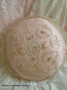 Vintage tambour lace pillow. Ribbonwork gently added.