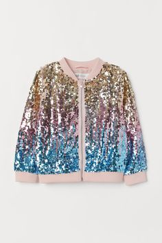 Bomber Jacket with Sequins - Pink/multicolored - Kids Girls Fashion Clothes, Teen Fashion Outfits, Look Fashion, Girl Fashion, Cute Girl Outfits, Kids Outfits, Cool Outfits, Stylish Dresses For Girls, Stylish Kids