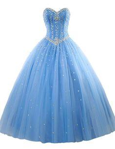 Erosebridal Prom Gown Tulle Sweetheart Beaded Quinceanera Dress Sky Blue US 8